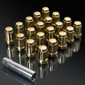 UPGR8 S-series M12X1.25MM 20 Pieces Gold Steel Closed Ended Lug Nuts with Key