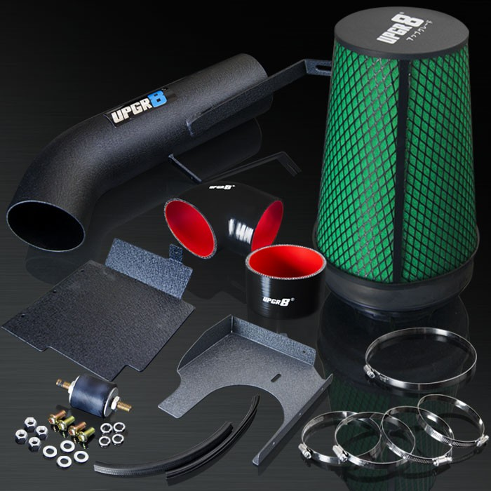 2001-2006 GMC Silverado/Sierra 1500HD 6.0L V8 High Performance Black Cold Air Intake System Kit with Green Air Filter