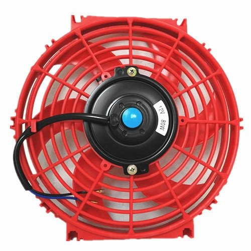 Upgr8 Universal High Performance 12V Slim Electric Cooling Radiator Fan With Fan Mounting Kit (10 Inch, Red)