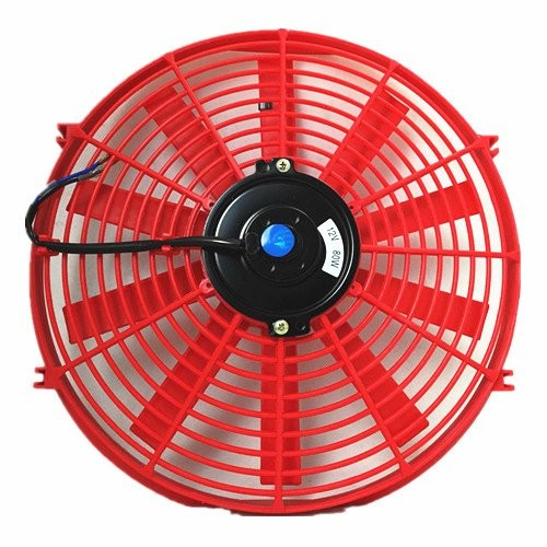 Upgr8 Universal High Performance 12V Slim Straight Blades Electric Cooling Radiator Fan With Fan Mounting Kit (14 Inch, Red) …