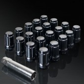 UPGR8 S-series M12X1.5MM 20 Pieces Black Steel Closed Ended Lug Nuts with Key