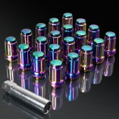 UPGR8 S-series M12X1.25MM 20 Pieces Neo Chrome Steel Closed Ended Lug Nuts with Key