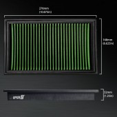 2001-2002 Nissan Frontier V6 3.3L F/inj. 12V SOHC VG33ER SC HD PRO OEM Replacement High Performance Green/Black Drop-In Panel Air Filter